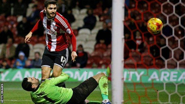 Brentford midfielder Jon Toral scores against Blackpool