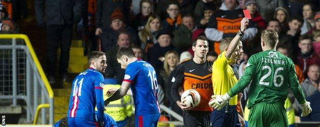 United keeper Szromnik was dismissed after just 10 minutes against Inverness