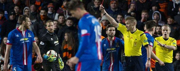 Warren was shown a red card late in the game for Inverness Caledonian Thistle