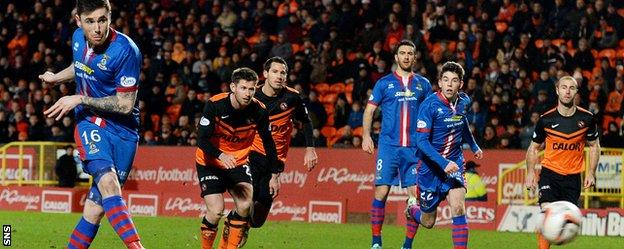 Greg Tansey netted from the spot to send Inverness Caley Thistle 1-0 ahead at Tannadice