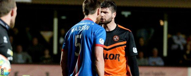 Warren and Nadir Ciftci squared up late in the game with the former being sent off