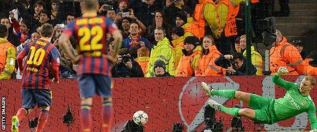 Lionel Messi scores a penalty versus Manchester City in the 2013-14 Champions League