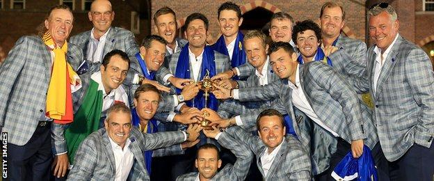 Europe celebrate their Ryder Cup success at Medinah in 2012