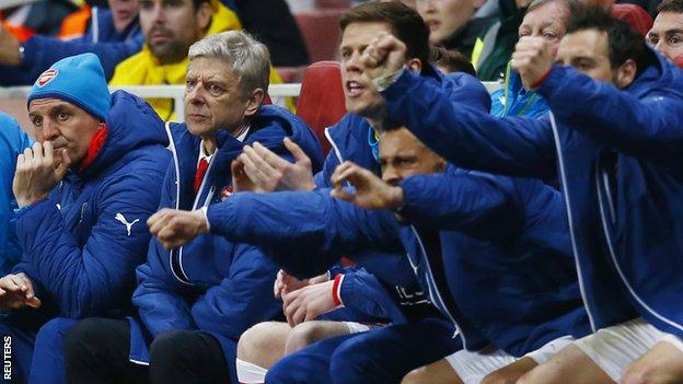 Arsene Wenger on the bench