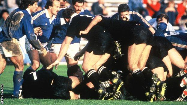 New Zealand players ruck over the ball during the inaugural Rugby World Cup in 1987