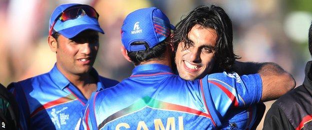 Samiullah Shenwari and Shapoor Zadran celebrate Afghanistan's win