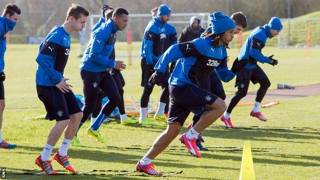 The Rangers players train at Auchenhowie
