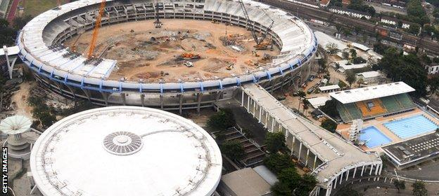 The Olympic volleyball venue - Ginásio do Maracanazinho - is dwarfed by the Maracana