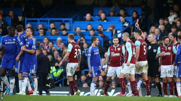 Matic (second left) reacted angrily to the challenge from Barnes in the 1-1 draw as Stamford Bridge