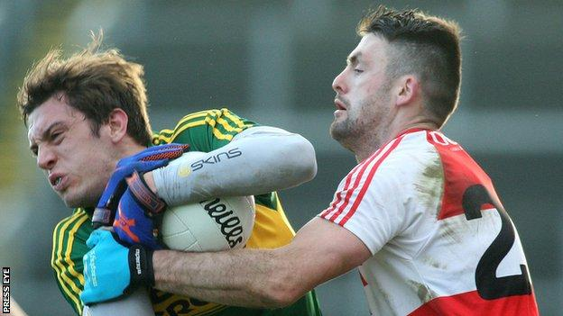 Eoin Bradley battles with Kerry's David Moran three weeks ago