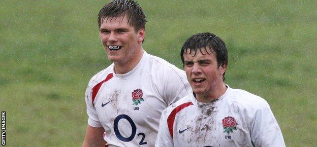 Owen Farrell (L) of England looks on with team mate George Ford during the Under-18 match between England and Western Province at Rondebosch Boys School in August 2009 in Cape Town