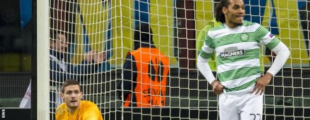 Craig Gordon and Jason Denayer are dejected after Guarin's 88th minute winner for Inter