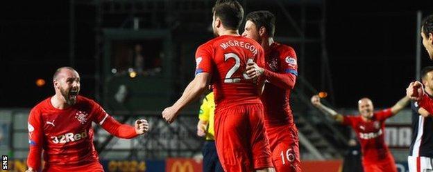 McGregor celebrates putting Rangers 1-0 up