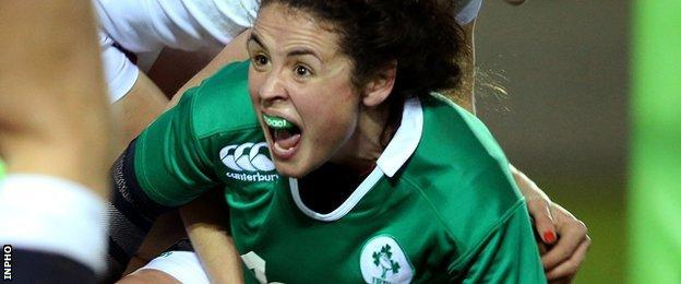 A delighted Lisa Muldoon celebrates her try which made it 8-8 at Ashbourne