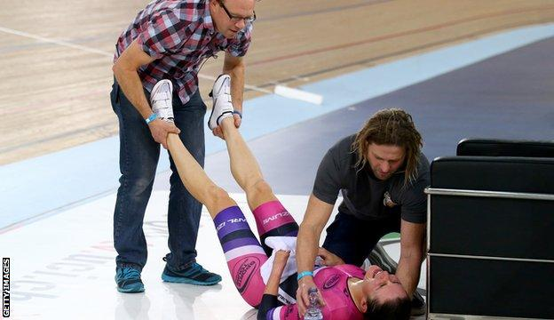Dame Sarah Storey receives treatment after her ride