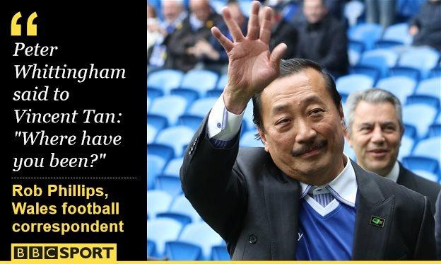 Cardiff City owner Vincent Tan waves to fans