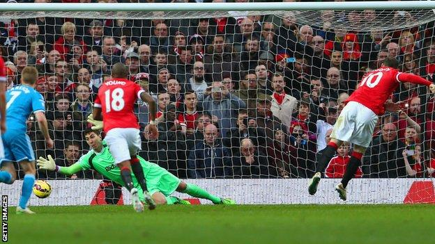 Manchester United striker Wayne Rooney scores a penalty against Sunderland