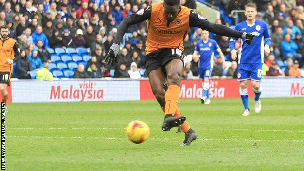 Bakary Sako puts Wolves 1-0 up against Cardiff