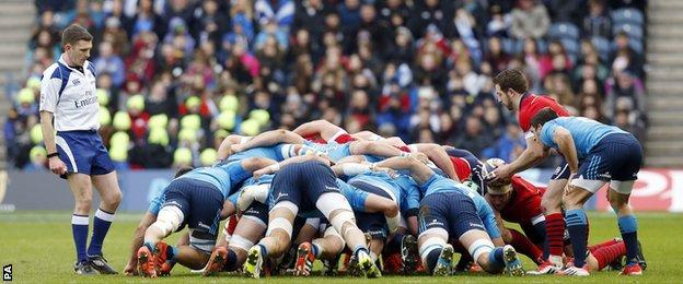 A Scotland scrum during Italy's win at Murrayfield