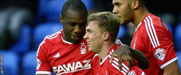 Nottingham Forest's Ben Osborn is congratulated after his goal against Reading