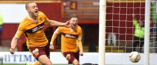 Louis Laing celebrates after scoring for Motherwell against Inverness