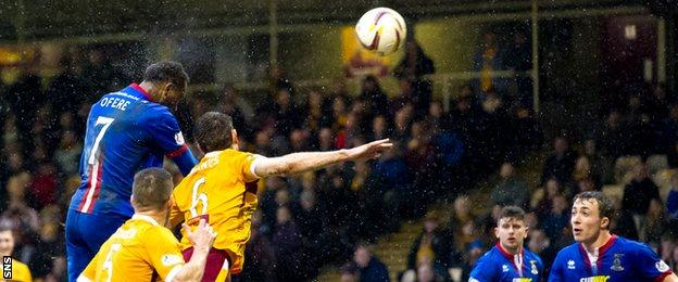 New Inverness signing Edward Ofere headed John Hughes' side back on level terms.