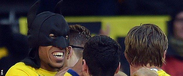 Borussia Dortmund's Pierre-Emerick Aubameyang (left) celebrate their team's first goal against Schalke