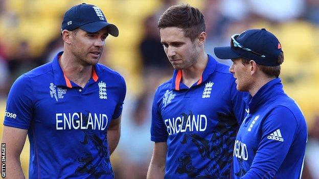 James Anderson, Chris Woakes & Eoin Morgan