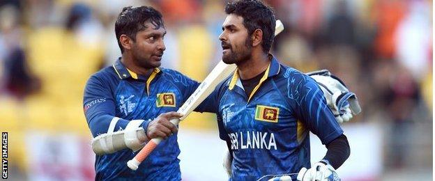 Sri Lanka's Kumar Sangakkara and Lahiru Thirimanne