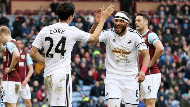 Ashley Williams with team-mate Jack Cork