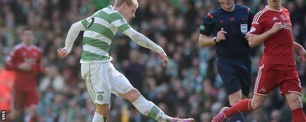 Gary Mackay-Steven slotted home Celtic's third goal against second-placed Aberdeen