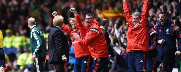 The Scotland bench are left delighted after Shaun Maloney's nets the crucial goal against Republic of Ireland