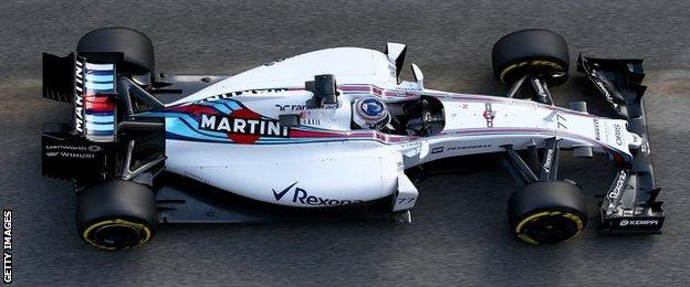 William driver Valtteri Bottas in action during day four of the final Formula 1 Winter Testing