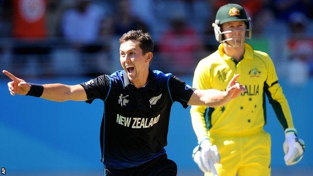 New Zealand's Trent Boult and Australia's Michael Clarke