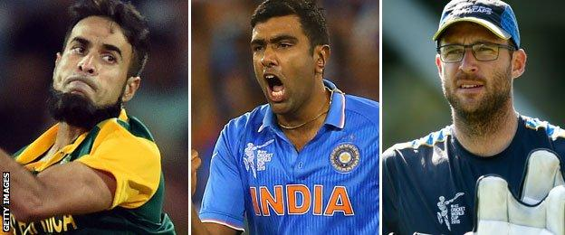 South Africa's Imran Tahir, India's Ravichandran Ashwin and New Zealand's Daniel Vettori