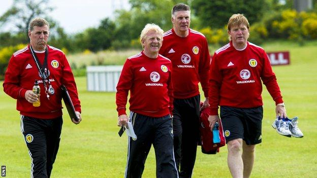 Scotland coaches Mark McGhee, Gordon Strachan, Jim Stewart and Stuart McCall