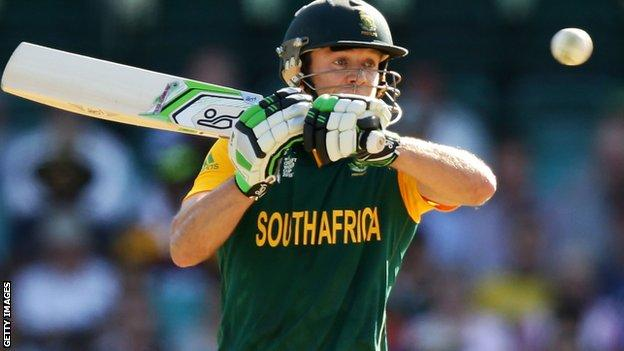 South Africa's AB de Villiers on his way to the fastest ever 150 in ODI cricket in the Pool B win over West Indies