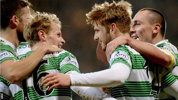 Gary Mackay-Steven, Stuart Armstrong and Scott Brown celebrate with Celtic