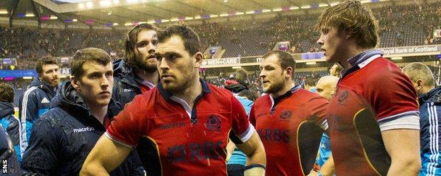 The Scotland players were left dejected after a late penalty try gave Italy the win at Murrayfield
