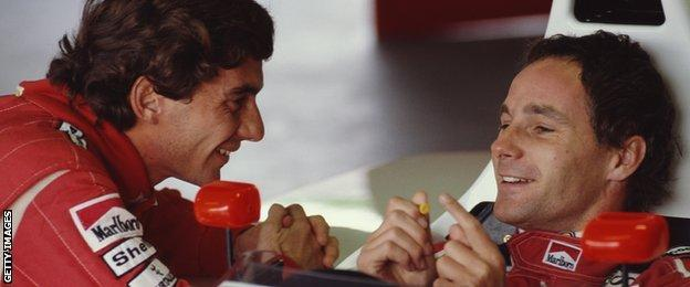 Ayrton Senna and Gerhard during a testing session in 1990