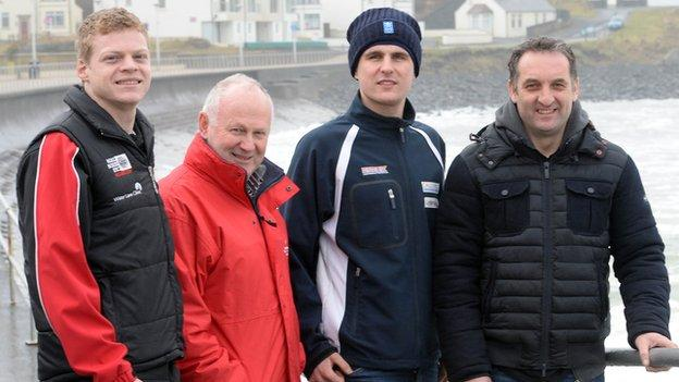 British Championship riders Sam West and Craig Neve with Michael Rutter and North West race director Mervyn Whyte