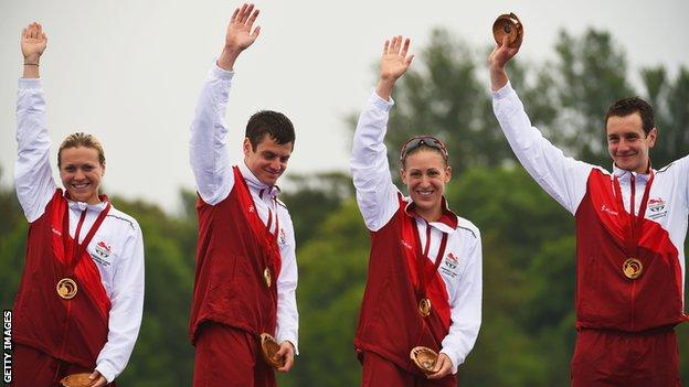 England's gold medal winning Commonwealth Games mixed relay triathlon team