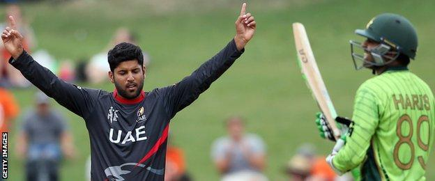UAE bowler Mohammad Naveed celebrates a wicket