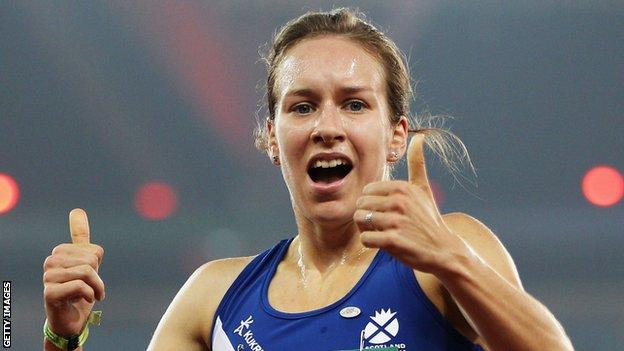 Steph Twell shows her delight after winning Commonwealth Games 1500m bronze in Delhi in 2010