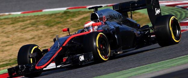 Jensen Button in Barcelona for day three of testing