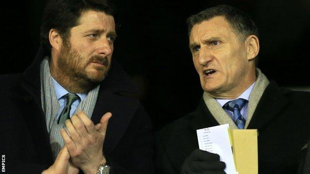 Coventry City chairman Tim Fisher and new manager Tony Mowbray