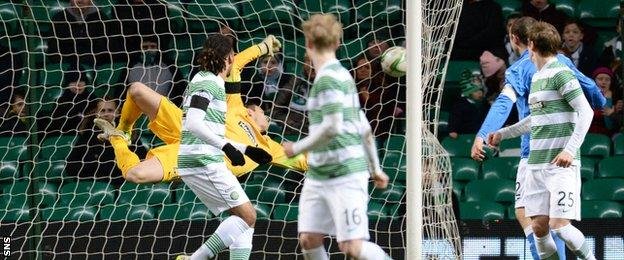 Craig Gordon at full stretch could not get close to Danny Swanson's shot
