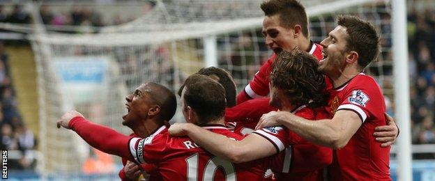 Ashley Young celebrates his winning goal for Manchester United