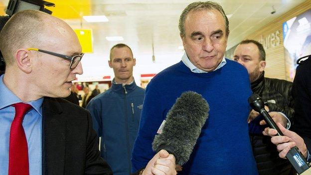 Rangers chief executive Derek Llambias being interviewed by Chris McLaughlin