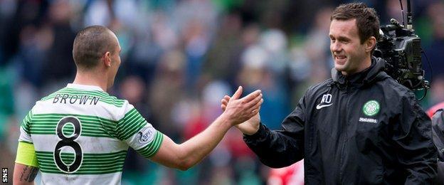 Celtic captain Scott Brown and manager Ronny Deila